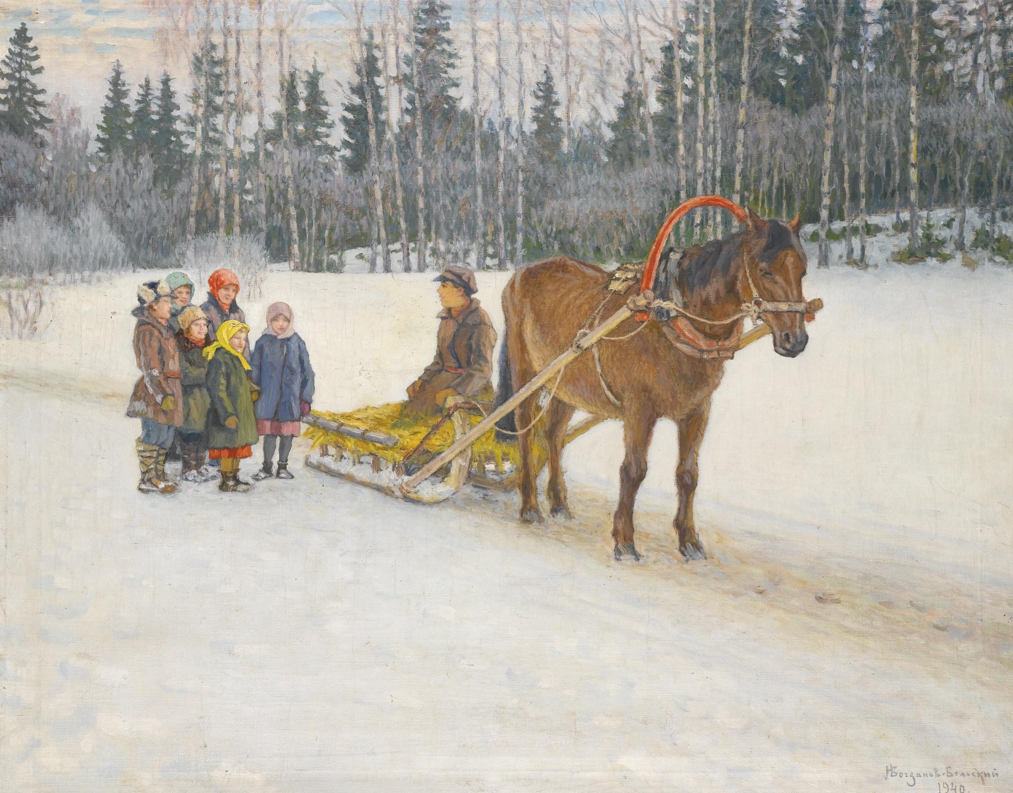 Зимние картинки с санями и лошадками, поздравлением