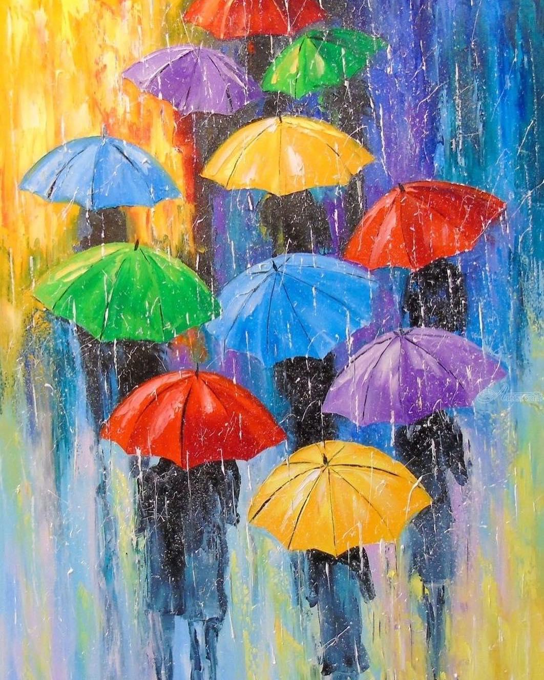 рисунок зонтики под дождем гремящей